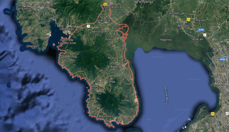 Mapa turístico de Bataán