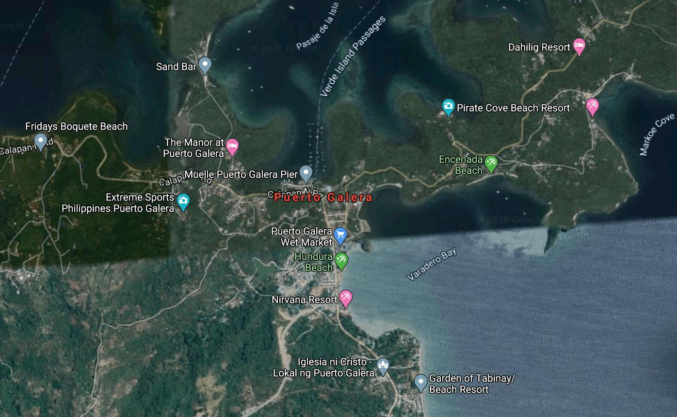 Mapa turístico de Puerto Galera