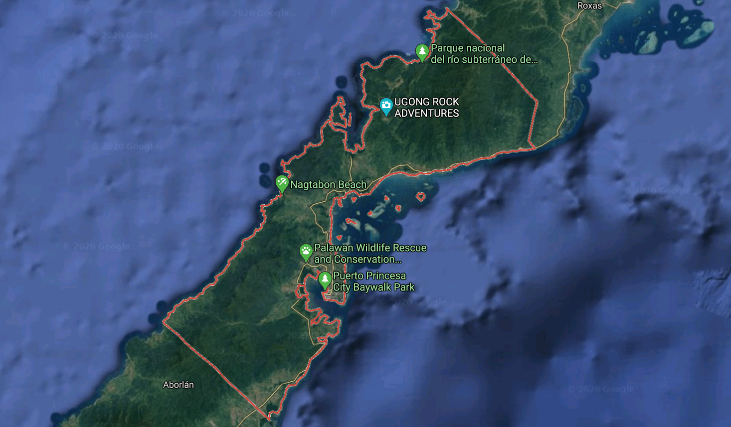 Mapa turístico de Puerto Princesa