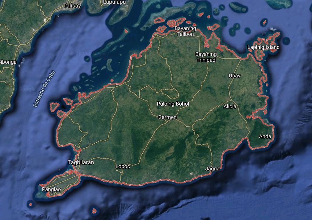 Mapa turístico de Bohol