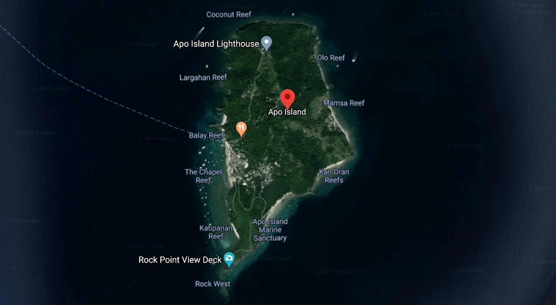 Mapa turístico de la Isla Apo