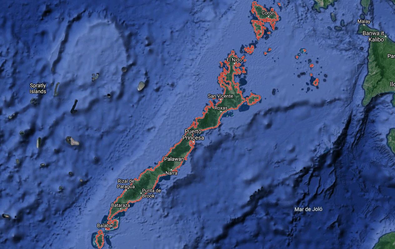 Mapa turístico de la Isla de Palawan
