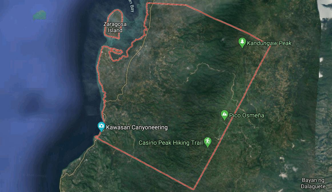 Mapa turístico de Badian, Cebu